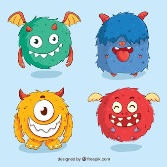 Set of funny monsters in hand drawn style