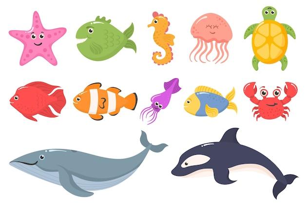白い背景で隔離の面白い海の動物のセットです。海洋生物。海洋動物と水生植物。水中の生き物セットが分離されました。面白い漫画のキャラクター。