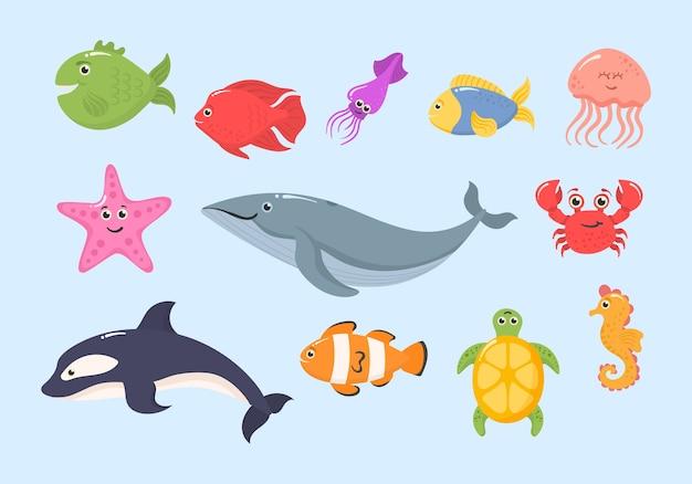 白い背景で隔離の面白い海の動物のセットです。海洋生物。海洋動物と水生植物。水中クリーチャーセットが隔離されました。面白い漫画のキャラクター。