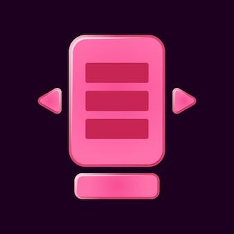 面白いピンクのゲームuiボードのセットがguiアセット要素のためにポップアップします
