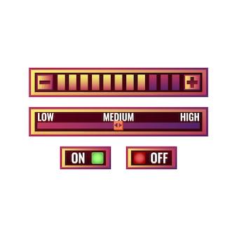 켜기 끄기 버튼 및 진행 메뉴가있는 재미있는 보라색 게임 ui 컨트롤 설정 패널 세트