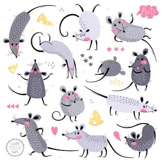 Набор веселых крыс для дизайна. симпатичные маленькие мышки в разных позах. веселая мышка шумная. иллюстрация