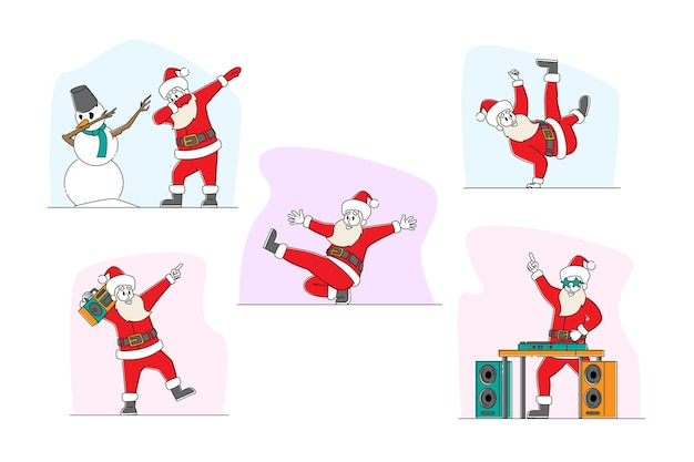 재미있는 산타 클로스와 눈사람 춤 그림 세트