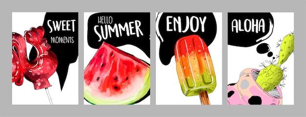 面白い夏のカードのセット