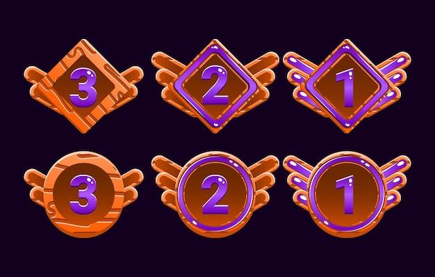 面白い木製ゼリーゲームuiアワードのセットは、gui資産要素のメダルをランク付けします