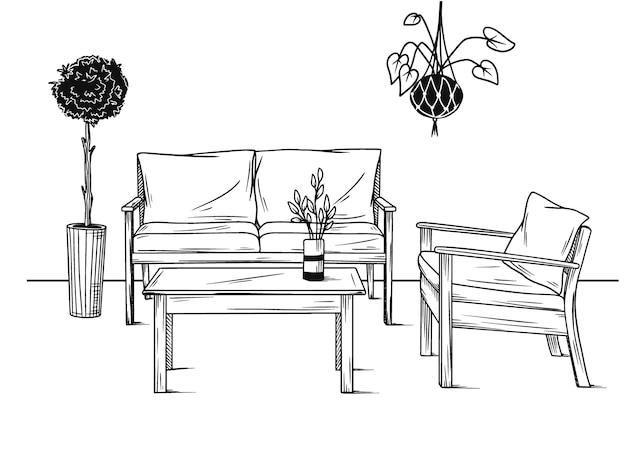 庭のための家具のセット。植物の間の肘掛け椅子、ソファーそしてテーブル。スケッチ風イラスト