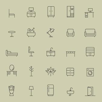 Набор значков мебели
