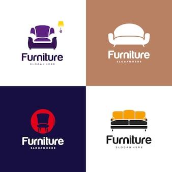 Набор концепции дизайна логотипа мебели. символ и значок стульев, дивана, стола и предметов интерьера