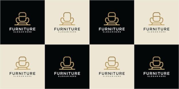 家具のロゴデザインのインスピレーションのセット。文字家具のロゴデザイン