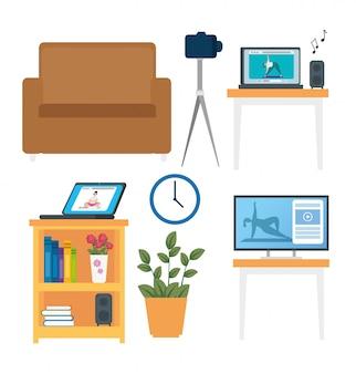 家具の装飾とアイコンのセット