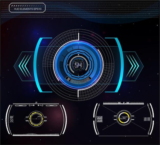 ヘッドアップディスプレイとして未来的な青いインフォグラフィックのセット。 webおよびアプリのナビゲーション要素を表示します。未来的なユーザーインターフェイス。 。 。