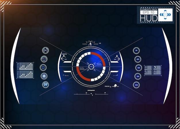 ヘッドアップディスプレイとして未来的な青いインフォグラフィックのセット。 webおよびアプリのナビゲーション要素を表示します。