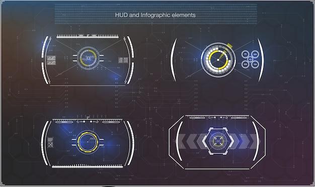 ヘッドアップディスプレイとして未来的な青いインフォグラフィックのセット。