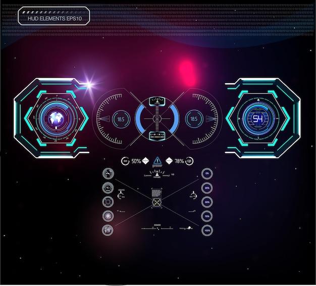 헤드 업 디스플레이로 미래의 파란색 인포 그래픽 세트 웹 및 앱용 디스플레이 탐색 요소 미래 지향적 인 사용자 인터페이스 가상 그래픽