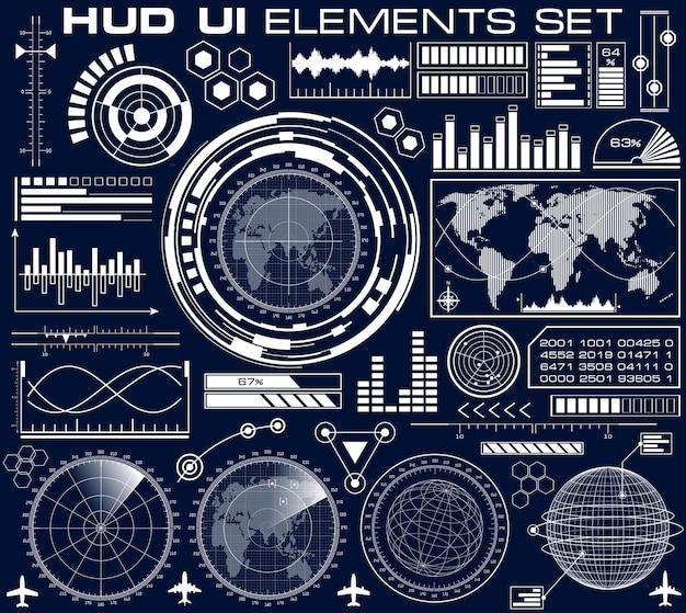 Набор футуристического графического пользовательского интерфейса hud. элементы пользовательского интерфейса дизайна инфографики и экраны радаров. голова вверх дисплей векторные иллюстрации.
