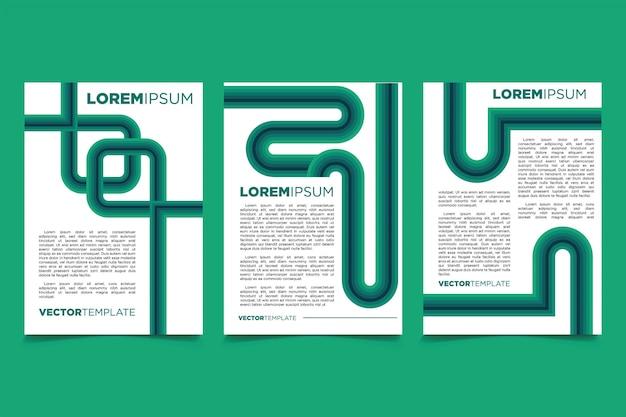 パターンデザインテンプレートと未来的なラインのチラシのセット