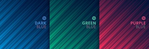ダークブルーの抽象的な背景に光の未来的なピンクグリーンブルーダイナミック斜めストライプのセット