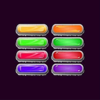 Набор круглых каменных камней, алмазов и желе, красочных кнопок