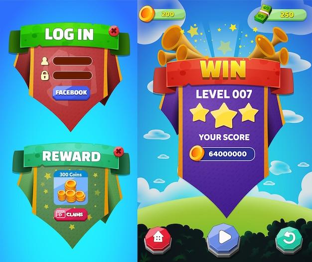게임 자산 메뉴 버튼 세트 배경 화면 팝업 화면 및 설정 버튼