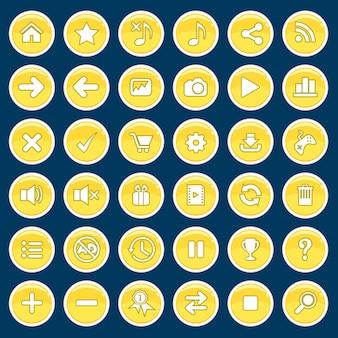 Набор кнопок игры мультфильм желтый глянцевый блестящий стиль.