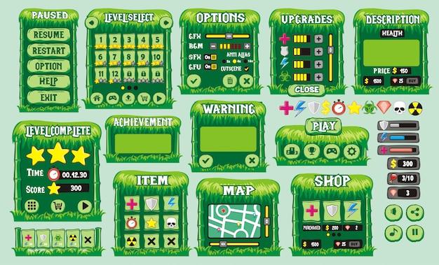 Набор игрового интерфейса с кнопками Premium векторы