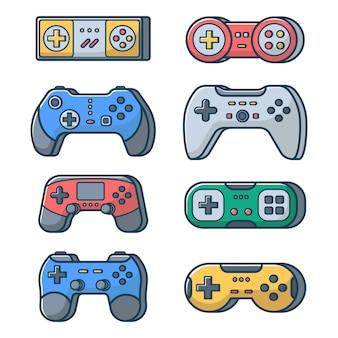 콘솔 pc 및 비디오 게임을 위한 격리된 흰색 배경 조이패드에 게임 조이스틱 세트