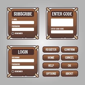 메뉴, 레벨 선택 및 옵션을 포함하여 rpg 및 어드벤처 게임을위한 게임 메뉴 선택 세트입니다.