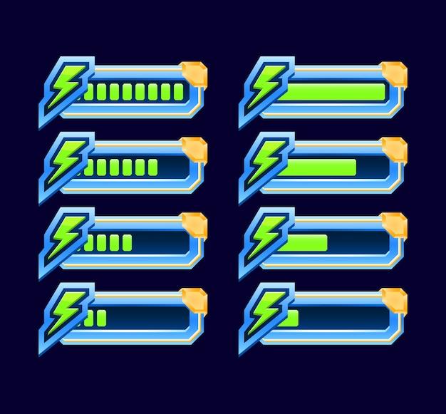 ゲームuiのセットは、guiアセット要素の低から完全なインジケーターエネルギースタミナバーまでアニメーション化します