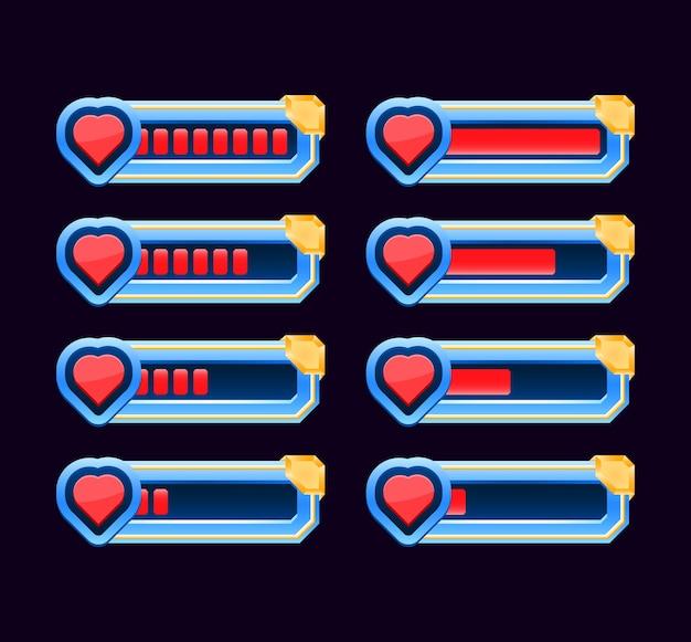 Набор игровых интерфейсов, анимированных от низкого до полного, индикатор здоровья сердца и полоса жизни для элементов графического интерфейса