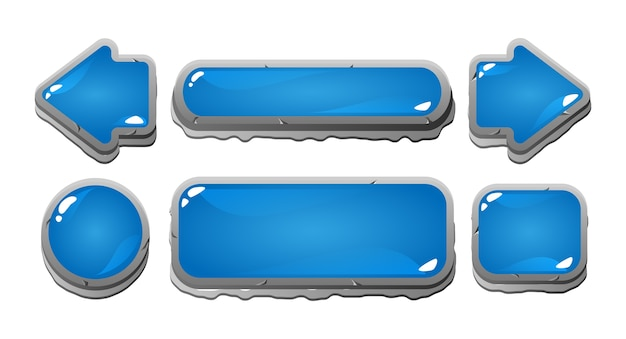 Guiアセット要素の石の境界線を持つゲームui青いゼリーボタンアイコンのセット