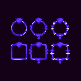 Набор игровой границы пользовательского интерфейса с символом щита для элементов пользовательского интерфейса