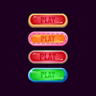 Набор игровых пользовательских интерфейсов, фэнтезийных алмазов и желе, красочных кнопок воспроизведения для элементов графического интерфейса