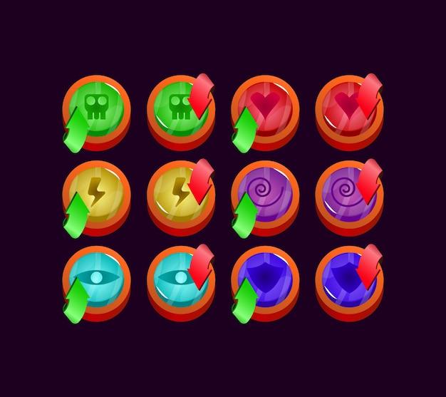 Набор элементов игрового интерфейса с глянцевым закругленным желе