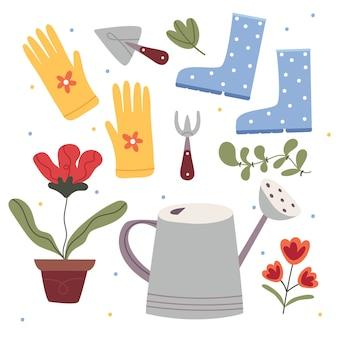 庭の要素のセット。じょうろ、手袋、植物、ゴム長靴、シャベル、熊手。ガーデニングのコンセプト。児童書のイラスト。かわいいポスター。シンプルなイラスト。