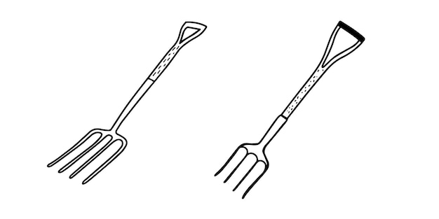 흰색 절연 정원 포크의 집합입니다. 정원 포크. 토공사 및 지역 청소를위한 도구. 낙서 스타일의 일러스트레이션