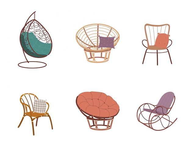庭の籐家具のセット