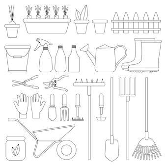 分離された園芸工具のセット。農業のためのツール。塗りつぶしのないオブジェクトのフラットなデザインのイラスト。じょうろ、シャベル、バケツ、手袋など。