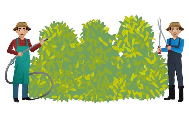 さまざまなポーズの庭師のセット