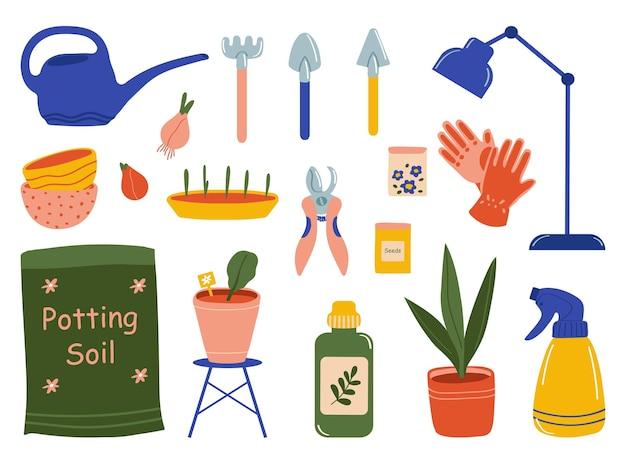 Набор инструментов для ухода за садом, изолированные на белом фоне. векторная иллюстрация в плоском стиле.