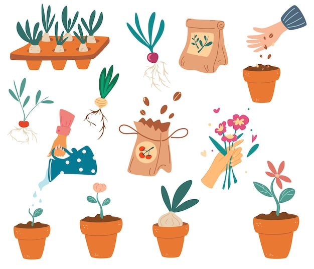 Набор элементов садоводства. симпатичные элементы садовой работы: инструменты, семена, цветочный горшок, лейка. изображения для садоводческого хозяйства. инструменты для сельского хозяйства. плоские векторные иллюстрации шаржа.