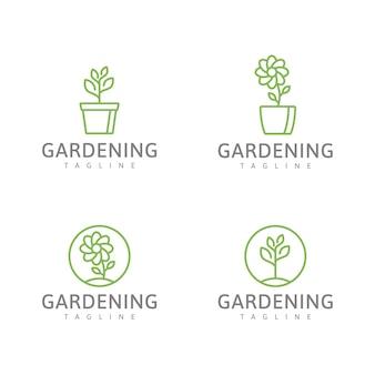 ガーデニングの緑のロゴの緑の植物と花のベクトル図のセット