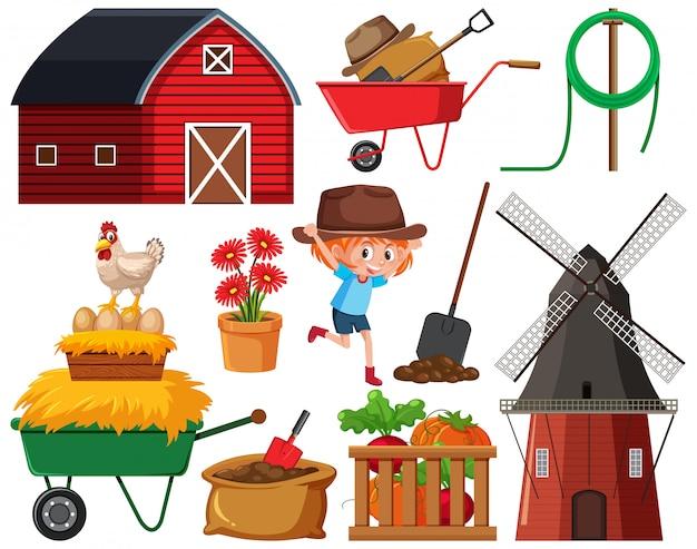 Набор предметов садоводства на белом фоне