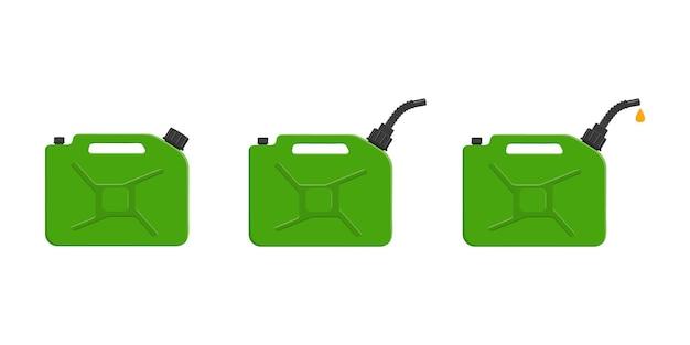 캡 주둥이와 쏟아지는 휘발유 방울이 있는 가스 캔 가솔린 캐니스터 세트
