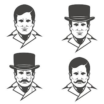 白い背景の上の口ひげを持つ紳士の頭のセット。 、ラベル、エンブレム、記号の画像。図。