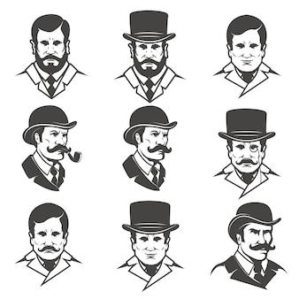 白い背景の上の紳士の頭のセット。 、ラベル、エンブレム、ポスター、tシャツの要素。図。