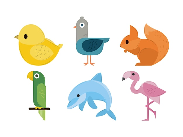 幾何学的な動物のセット