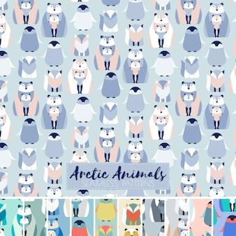 幾何学的な北極動物のシームレスなパターンのセット