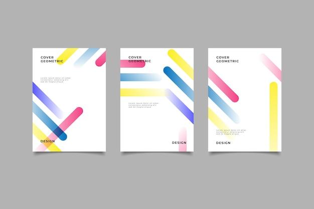 Набор геометрических бизнес-обложек градиентного цвета
