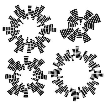 기하학적 원형 흑백 이퀄라이저의 집합입니다. eq 라운드 오디오 음파.