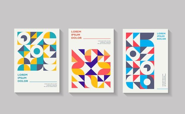 幾何学的なカバーのセットクールなヴィンテージの抽象的な形の構成のコレクション